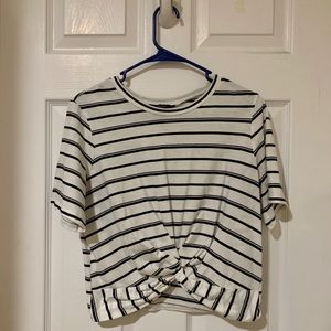 cropped black and white stripped crop top